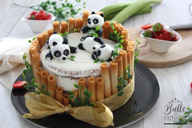 Gâteau d'anniversaire Panda – Chiffon Cake Fraise-Rhubarbe