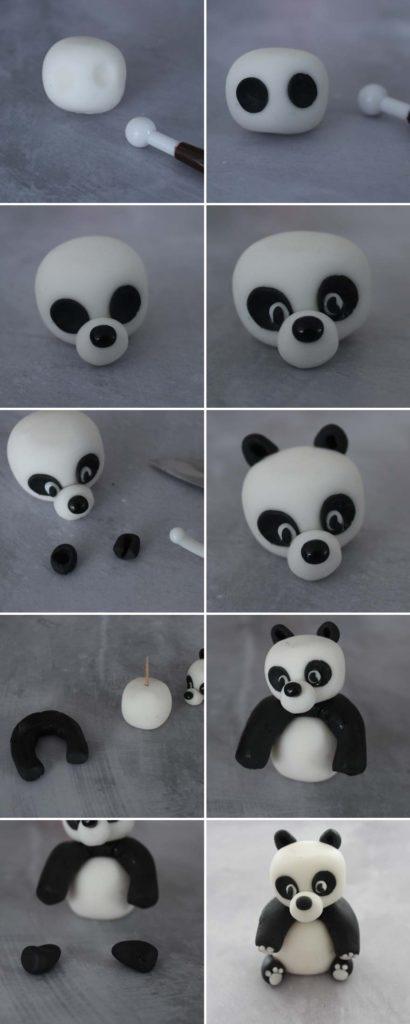 Tuto : panda assis en pâte à sucre