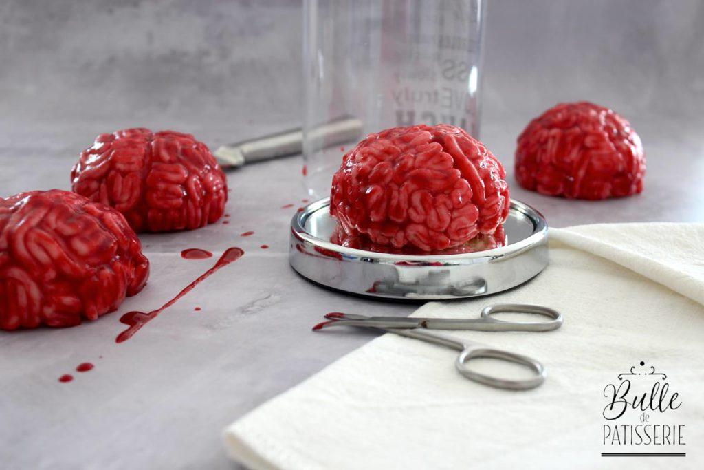 Trompe l'œil d'Halloween : gâteau entremets Cerveau