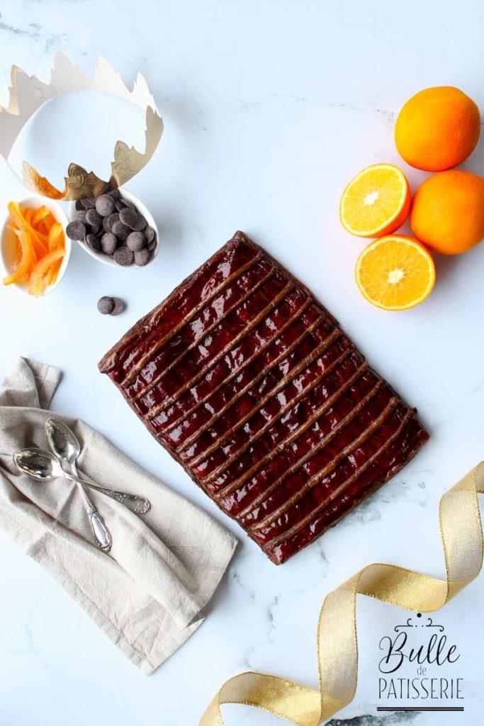 Galette des rois frangipane chocolat, orange et feuilletage chocolat