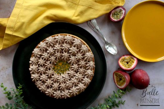 Recette gourmande : tarte aux fruits de la passion et chocolat au lait