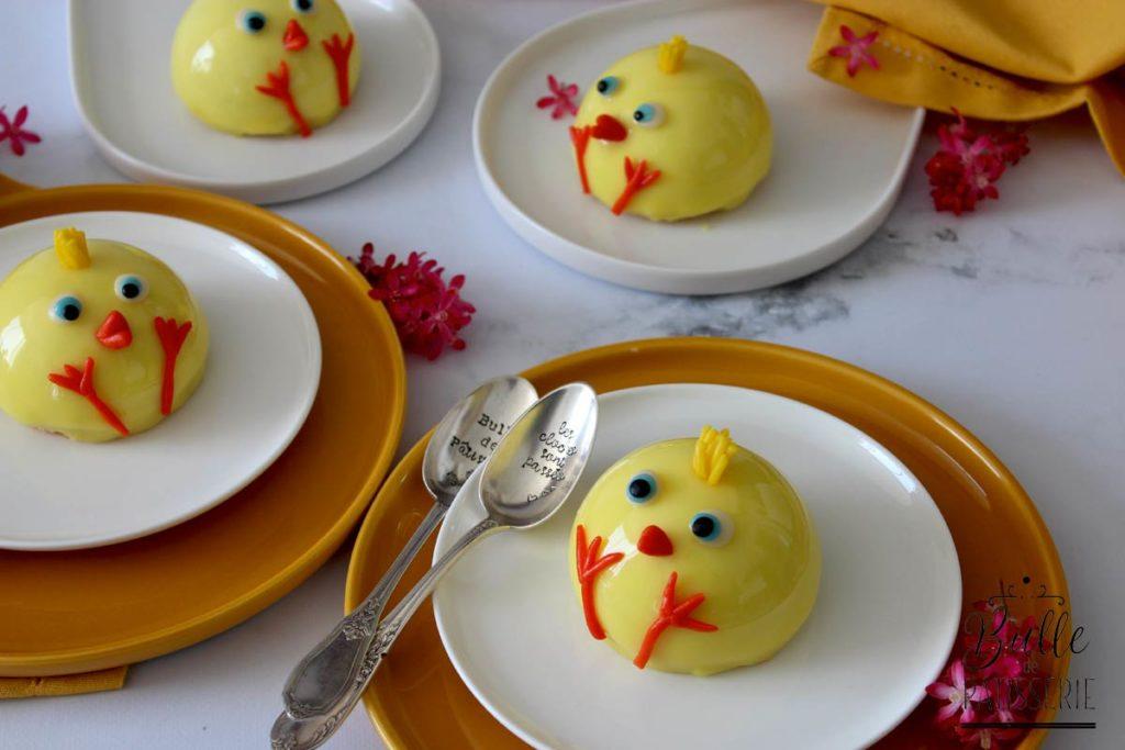 Dessert de Pâques : entremets poussin vanille-mangue