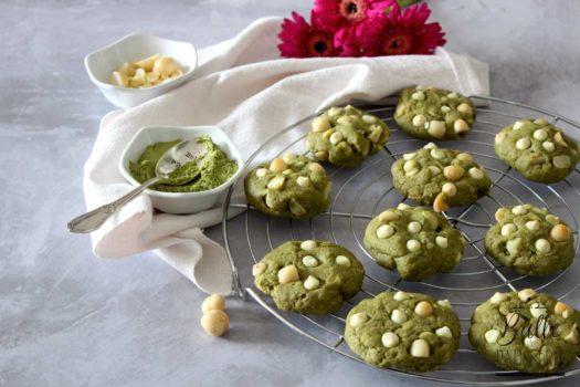 Cookies maison : thé matcha, chocolat blanc et noix de macadamia