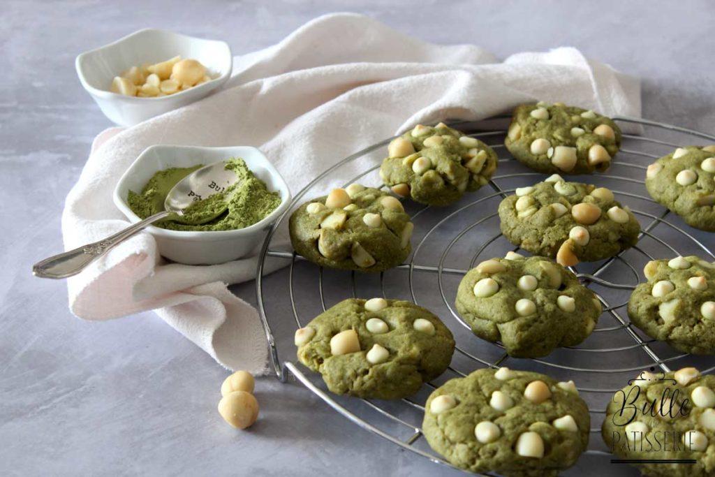 Recette de goûter : cookies au thé matcha, noix de macadamia et chocolat blanc