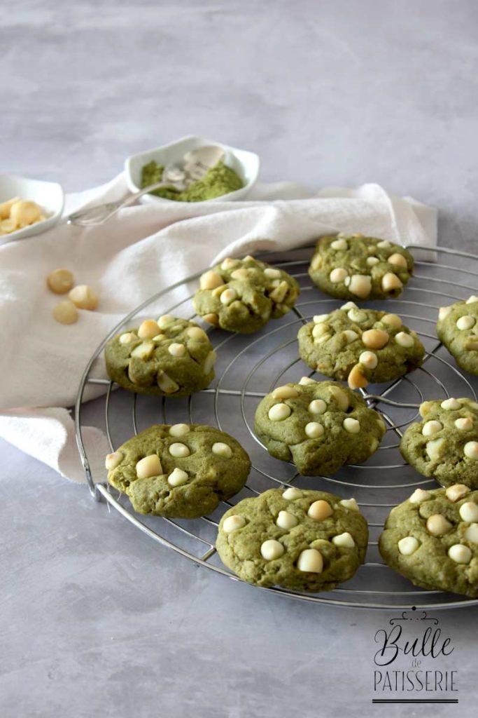 Recette de cookies : thé matcha, chocolat blanc, noix de macadamia